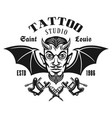 tattoo studio emblem with horned devil head vector image vector image