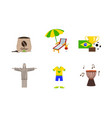 travel to brazil set symbols and attractions of vector image vector image