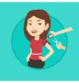 Woman cutting price tag off new t-shirt vector image vector image