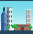 city outdoor day landscape house and street vector image