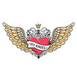 tattoo heart with wings ribbon and crownmy angel vector image