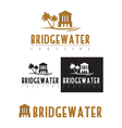 A logo icon of a bridge over water vector image