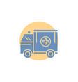 ambulance truck medical help van glyph icon vector image vector image
