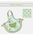 Apron Roses On Blue vector image vector image