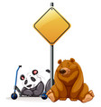 bear and panda under the yellow sign vector image vector image
