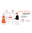business analytics - line design style web banner vector image