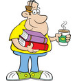 cartoon man holding books vector image vector image