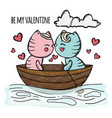 cat kiss in boat hand drawn cartoon vector image