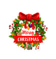 christmas wreath with ribbon banner icon design vector image vector image