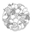 circle shape coloring page with fruits black vector image