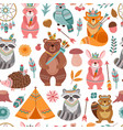 cute tribal animal texture bright animals vector image vector image