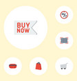 flat icons trolley support buy now and other vector image vector image