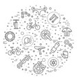 flat line bicycle icons vector image