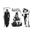 halloween cartoon characters death with scythe vector image
