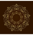 Hand drawn gold flower mandala over dark brown vector image vector image