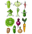 Happy fresh cartoon vegetables characters vector image vector image