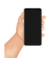human hand holds smartphone vector image