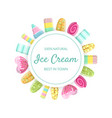 ice cream banner template 100 percent natural vector image vector image