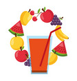 juice cup fruits healthy food vector image vector image