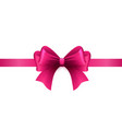magenta ribbon with bow on a white background vector image vector image