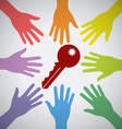 Many Colorful Hands Surrounding A Red Key vector image vector image