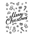 merry christmas - calligraphic lettering for vector image