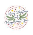 merry christmas happy new year colorful vintage vector image