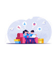 online shopping girl and a guy are sitting on the vector image vector image