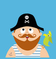 pirate captain wearing black hat with skull vector image