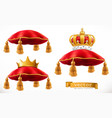 royal pillow and crown 3d icon set vector image vector image