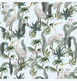 seamless pattern in chinoiserie style with storks vector image vector image