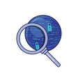 search magnifying glass with sphere browser vector image
