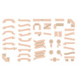 set of beautiful beige ribbons vector image