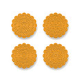 set of chinese moon cake on white top view vector image