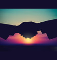 sky and handshake silhouette start sunrise vector image