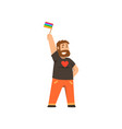 smiling man holding rainbow flag lgbt pride vector image vector image