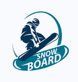 snowboarding stylized symbol silhouette logo or vector image vector image