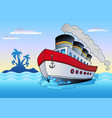 steamship sailing in sea vector image