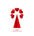 tree of hearts imitation paper card valentine vector image vector image
