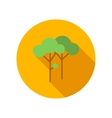 Two trees with green leaves flat icon vector image
