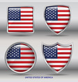 usa flag in 4 shapes collection with clipping path vector image vector image