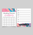 weekly list and monthly planner template design vector image vector image