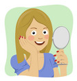 young beautiful healthy woman looking in mirror vector image