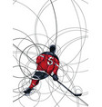 ice hockey player in red and black dress vector image