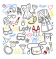 woman beauty fashion hand drawn set clothes vector image