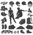 roller skater black white icons set vector image