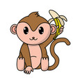 adorable monkey wild animal with banana in the vector image