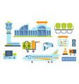 airport design elements set airport terminal vector image
