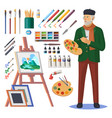 art frenchman or artist man painter with paint vector image