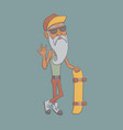 bearded old man with skateboard vector image
